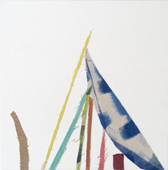 Threads 4 Ink & acrylic & cloth on linen, 2015, 39.0 x 39.0 cm