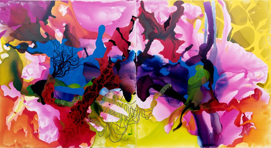 Still vast reserves, synthetic polymer paint and ink on linen, 183cm x 334 cm, 2008.